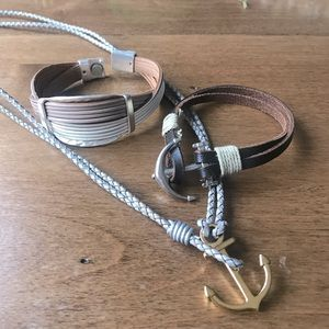 Set of 3 anchor, leather bracelet and necklace